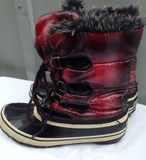 Sporto Quilted Faux Fur Lined Winter Snow Boots Women 6 Red Black Plaid