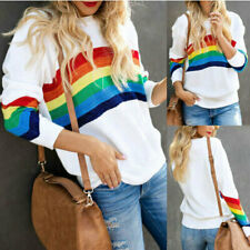 Rainbow Striped Pullover Sweater Sweatshirt Long Sleeve Womens Top Jumper Ladies