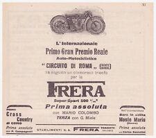 PUBBLIITA' 1925 MOTO FRERA SUPER SPORT 500 PRIMO GP MONTE MARIO CIRCUITO DI ROMA