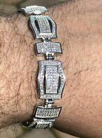 2 Ct Round Cut Sim Diamond Men's Tennis Link Bracelet 14K White Gold Plated