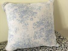 "Gorgeous Shabby Chic Serenity ? Linen Fabric Custom Pillow Blue Rose 18"" Ashwell"