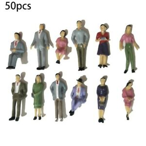 1:32Scale Plastic Models People Sitting Standing Figures Model Train Layout 50pc