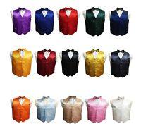 Kid Children Boy Satin Waistcoat Vest + Matching Bowtie Set For Suit Wedding