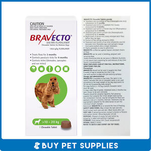 Bravecto Green For Medium Dogs 10-20kg 1 Pack Chew