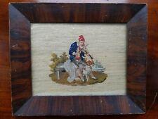 Sampler 1851.Ellen Jane Northcott. 1851. Dartmouth. Fiddler with his spaniel