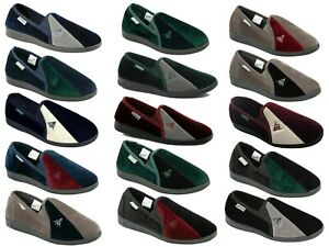 Mens Dunlop Full Slippers Velour Two-Tone Twin Gusset Comfy Warm Size 6-13 UK