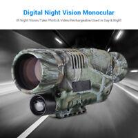 5x40 Zoom Night Vision Cam Goggles Monocular IR Surveillance 8GB Hunting Scope