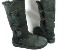 UGG Australia Bailey Button Triplet Black Sheepskin Boots Women size 8 M