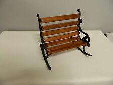 Black Wrought Iron & Wood Doll Furniture Park Bench Rocker