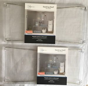 Mainstays Stackable Storage Shelf Clear Plastic (2 Pack) Chrome Legs