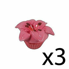 Lip Balm Flower Scented Floral Gloss Moisturising Nourishing Pot Pink Lily x3