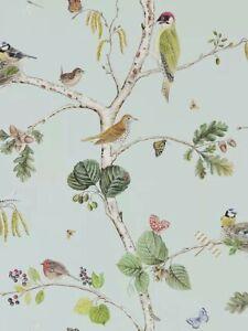 1 Roll  Sanderson Woodland Chorus Wallpaper, Sky Blue / Multi 215706 Batch AG5