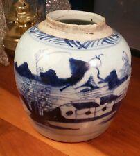 Vintage/Antique Vase/Urn/Jar Blue Hand Painted Fishing Scene Pottery Stoneware