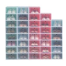 12Pcs Foldable Plastic Transparent Shoe Box Storage Clear Stackable Organizer