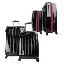 Swiss Case 4 Wheel Spinner 2 PC Luggage Set Black & Purple Hardside Suitcases
