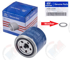 GENUINE Oil Filter 26300-35504 + Oil Drain Plug Gasket for Hyundai & Kia