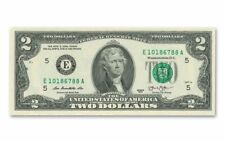 3 Uncirculated Crisp $2 Notes Two Dollar Bill Consecutive Serial Number