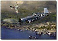 Gunfight Over Rabaul (A/P) by Jack Fellows - F4U Corsair - Aviation Art