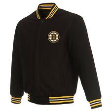 Nhl Boston Bruins Jh Design Wool Reversible Jacket With 2 Front Logos