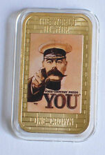 2014 Tristan da Cunha Large Gold plated Color 1 Cr WWII Propaganda-Your Country