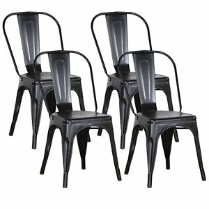 Set of 4 Metal Dining Chairs Industrial Cafe Restaurant Bistro Tolix Style Chair