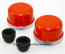 Orange Push In Valve Cover Breather Set New Pair For Steel Covers w/ 1.25 Holes