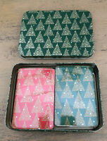 Vintage Christmas Playing Cards 2 Decks Sealed In Green Tin Enesco