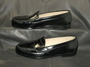 Cole Haan black leather moc toe penny loafers slip on Men's shoes size US 8 1/2D