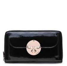 NWT MIMCO Large ROSE GOLD Turnlock Travel Wallet-Black Patent Leather RRP$199