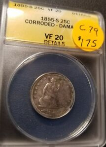 1855 S VF20 Certified Seated Liberty Quarter C79