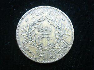 TUNISIA 2 FRANCS 1941 TUNISIE FRENCH 3986# MONEY COIN