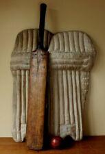 More details for decorative antique vintage cricket pads, bat & ball kit. sport bar. shop. museum
