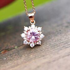 Created Morganite Pendant Rose Gold Vermeil with Cubic Zirconias , Wedding