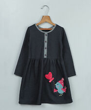 BEEBAY Girl's size 2 Toddler PRECIOUS Appliqued Gray Twill DRESS 2T