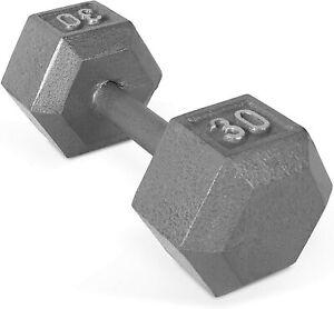Anti-Flip Solid Cast Iron Hexagon Shaped Dumbbell - 30 lb
