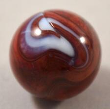 "RARE BIG VINTAGE M.F. CHRISTENSEN & SON OXBLOOD BRICK MARBLE < 27/32"" (.834"")"