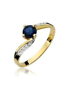 Damen Ring 585 14k Gold echt Edelstein Diamanten Brillanten Saphir