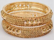 Indian Bollywood Zircons Made Bangles Set Gold Tone Ethnic Bangles Jewelry 2PC