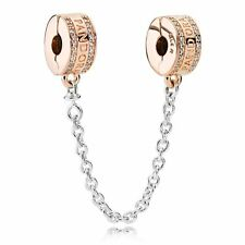 Rose Gold Insignia Safety Chain 782057CZ--Authentic Pandora Charm Bead