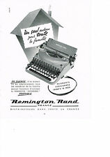 PUBLICITE ADVERTISING 1953 REMINGTON  RAND machine à écrire NOISELESS portable
