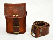 Real vintage leather hunters choice waist pouch with belt goat hide classic
