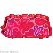 38cm Valentine's Day Stylish Hearts Wishes Plastic Snack Serving Platter Tray