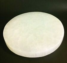 """XL Selenite Plate Charging Round Carved Orgone Tile Crystal Stone 6"""" Discounted"""
