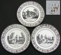 "Antique Choisy 3pc Plate Set, Figural, ""Cries de Paris"", Country French Laborers"