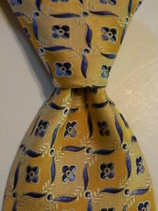 ERMENEGILDO ZEGNA Men's 100% Silk Necktie ITALY Luxury Geometric Peach/Blue GUC