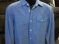 Banana Republic Mens L Linen/Cotton Slim Fit Long Sleeve Button Shirt Geometric