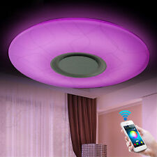 LED Flush Mount Ceiling Light Lamp Fixture Remote Control with Bluetooth Speaker