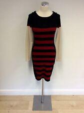 KAREN MILLEN BLACK,RED & BEIGE STRIPE FINE KNIT STRETCH DRESS SIZE 2 UK 8/10