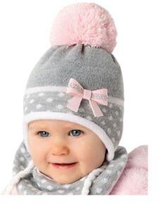 Baby Wintermütze Tuch 2er Set Mädchen 6-18 Monate 44/46 Exklusiv Beanie NEU
