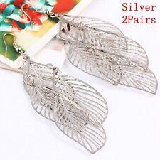 2pairs Jewelry Hollow Drop Earrings Long Tassel Ear Stud Multi-leaves Silver